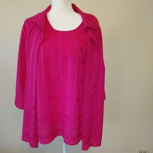 Maggie Barnes Hot Pink Blouse w/Attached Tank - 1X